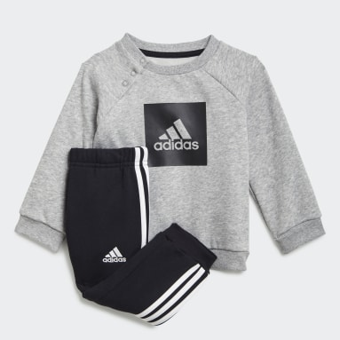 Kids Gym & Training Grey 3-Stripes Fleece Jogger Set