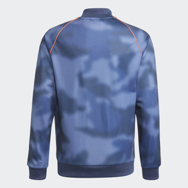 Jongens Originals Blauw Allover Print Camo SST Trainingsjack