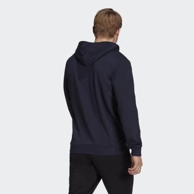 Sweat-shirt à capuche Essentials French Terry Linear Logo Bleu Hommes Sportswear