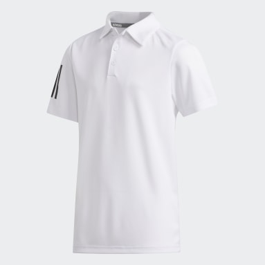Boys Golf White 3-Stripes Polo Shirt