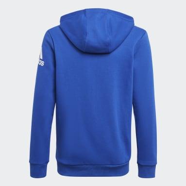 Boys Training Blue Logo Full-Zip Hoodie