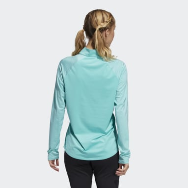 Women's Golf Green Solid UV Long Sleeve Polo Shirt