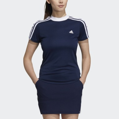 Women Golf Blue 3-Stripes Crew T-Shirt