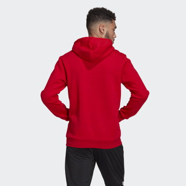Men's Essentials Red Essentials Logo Colorblock Hoodie