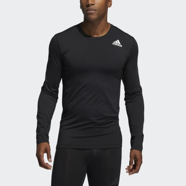 Men Winter Sports Black Techfit Compression Long Sleeve Tee