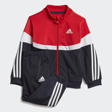 Kinder Fitness & Training Shiny Badge of Sport 3-Streifen Trainingsanzug Rot