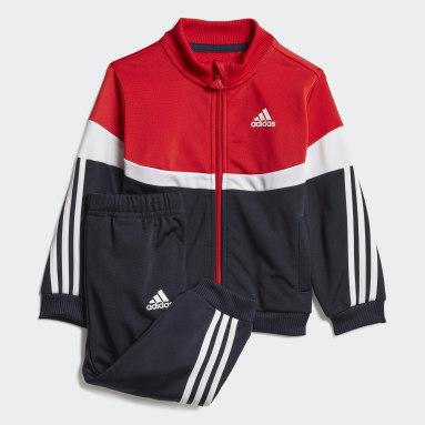 Kinderen Fitness En Training Rood Shiny Badge of Sport 3-Stripes Trainingspak
