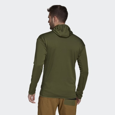 Men TERREX Green Terrex Tech Fleece Light Hooded Hiking Jacket