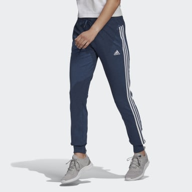 Women Sport Inspired Blue Essentials Single Jersey 3-Stripes Pants