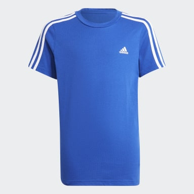 Boys Sport Inspired Blue adidas Essentials 3-Stripes Tee