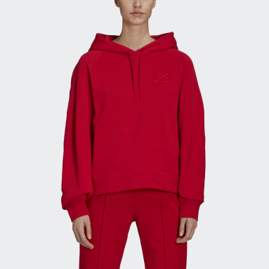 Women's Y-3 Red Y-3 Classic Chest Logo Hoodie