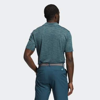 Men Golf Turquoise Mesh Broken-Stripe Polo Shirt