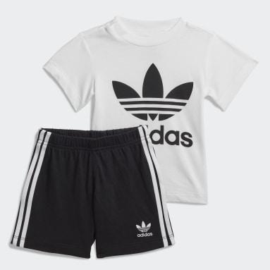 Barn Originals Vit Trefoil Shorts and Tee Set