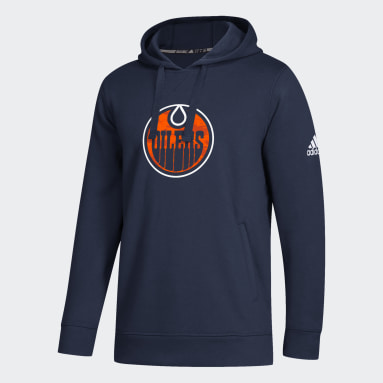Men Hockey Blue Oilers Fleece Hoodie