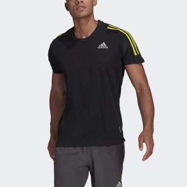 Men Running Black Own The Run 3-Stripes Running T-Shirt