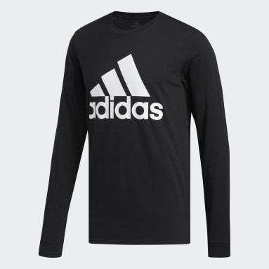 T-shirt Basic Badge of Sport Long Sleeve noir Hommes Sportswear