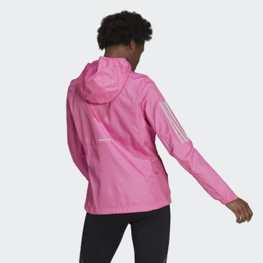Women Running Pink Own the Run Hooded Wind Jacket