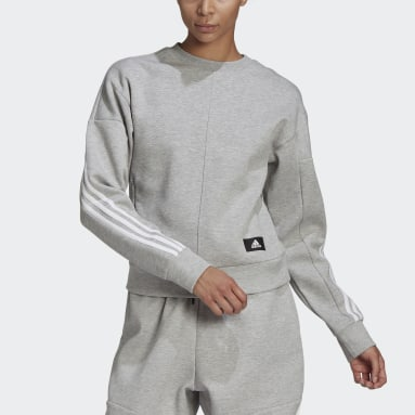 Sweat-shirt adidas Sportswear Wrapped 3-Stripes Gris Femmes Sportswear