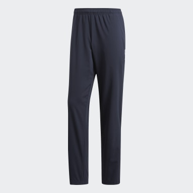 Men Gym & Training Blue Essentials Plain Open Hem Stanford Trousers