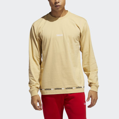 T-shirt Linear Repeat Long Sleeve Beige Hommes Originals