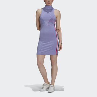 Women Originals Purple Adicolor Tricolor Tank Dress