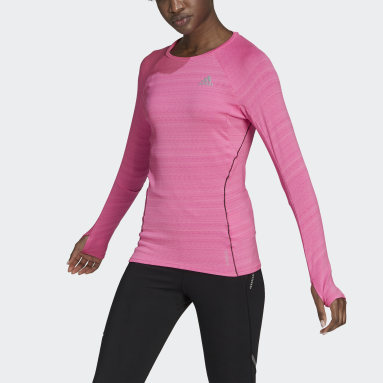T-shirt Runner Long Sleeve Rose Femmes Running