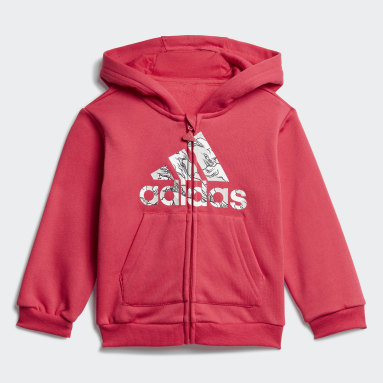 Girls Gym & Träning Rosa Fleece Hooded Jogger Set