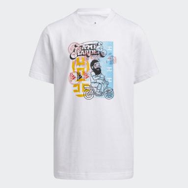 Kids 4-8 Years Basketball White Young Creators Harden Avatar T-Shirt