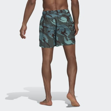 Men Swimming Green Short-Length Graphic Swim Shorts
