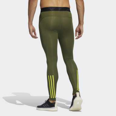 Men Gym & Training Green Techfit 3-Stripes Long Tights