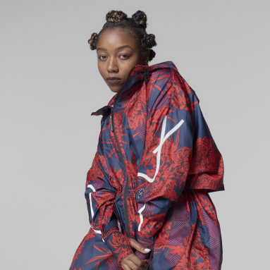 Women adidas by Stella McCartney Red adidas by Stella McCartney Long Lightweight Allover Print Parka