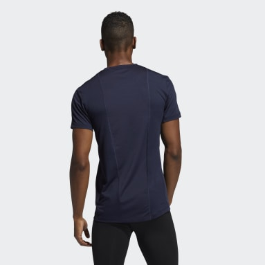 Men Running Blue Techfit Compression Short Sleeve Tee