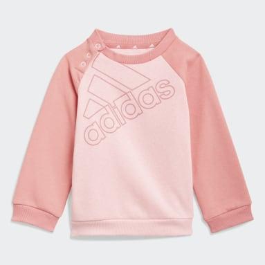 Infants Sport Inspired Pink adidas Essentials Logo Sweatshirt and Pants (Gender Neutral)