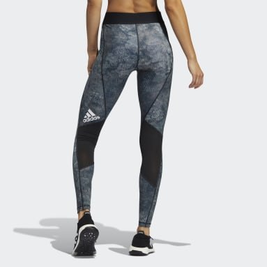 Women Gym & Training Black Techfit Mid-Rise Floral Leggings