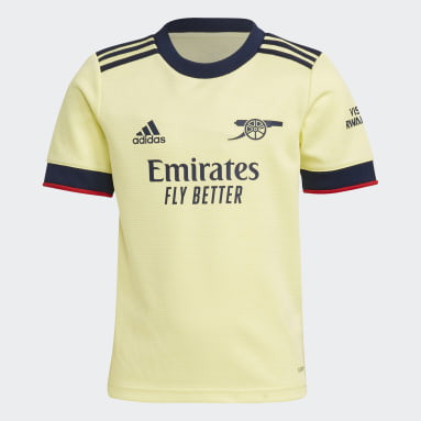 Kids 4-8 Years Football Yellow Arsenal 21/22 Away Mini Kit