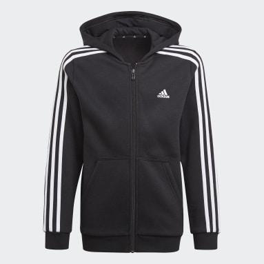 Camisola com Capuz 3-Stripes Essentials Preto Rapazes Sportswear
