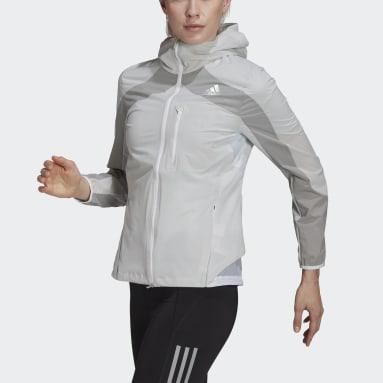 Women Running White Adizero Marathon Jacket