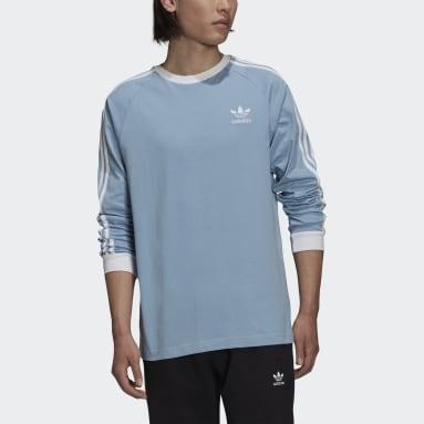 Men's Originals Blue Adicolor Classics 3-Stripes Long Sleeve Tee