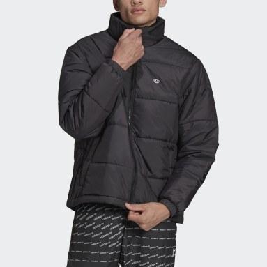 Men Originals Black Padded Stand-Up Collar Puffer Jacket