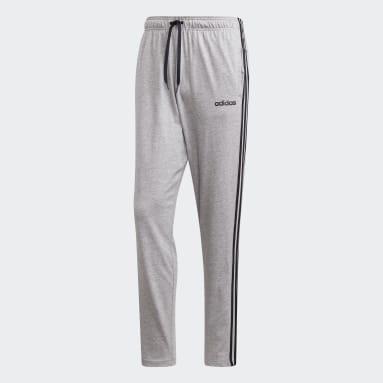 Men Sport Inspired Grey Essentials 3-Stripes Tapered Open Hem Pants