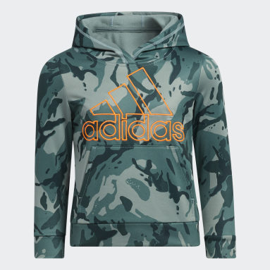 Children Training Green CORE CAMO HOODED PLLOVR