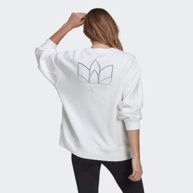 Women Originals White Adicolor 3D Trefoil Oversize Sweatshirt