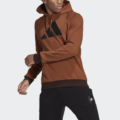 Men Sportswear Brown adidas Sportswear Badge of Sport Hoodie