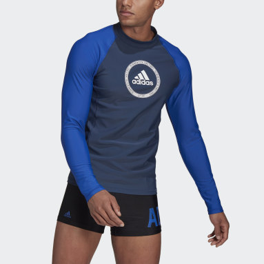Men Swimming Blue Long Sleeve Rash Guard
