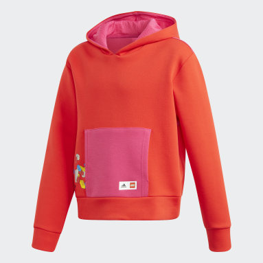 Youth Training Red adidas x Classic LEGO® Bricks Cropped Boxy Hoodie