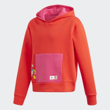 Blusa Moletom Capuz Boxy adidas x Blocos LEGO® Classic Vermelho Meninas Training
