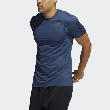 Heren Hardlopen Blauw Primeblue AEROREADY 3-Stripes Slim-fit T-shirt