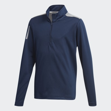 Boys Golf Blue 3-Stripes Half-Zip Sweatshirt