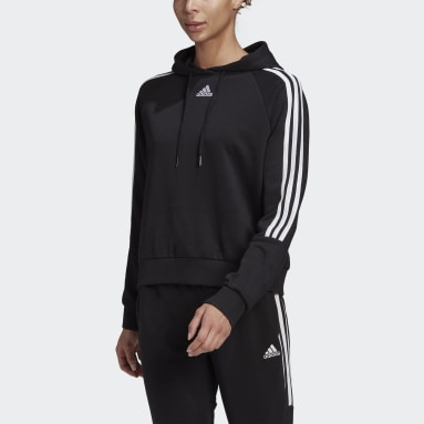 Women Sport Inspired Black adidas Essentials Loose-Cut 3-Stripes Cropped Hoodie