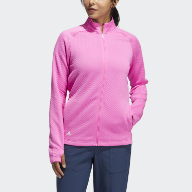 Women Golf Pink Textured Layer Jacket